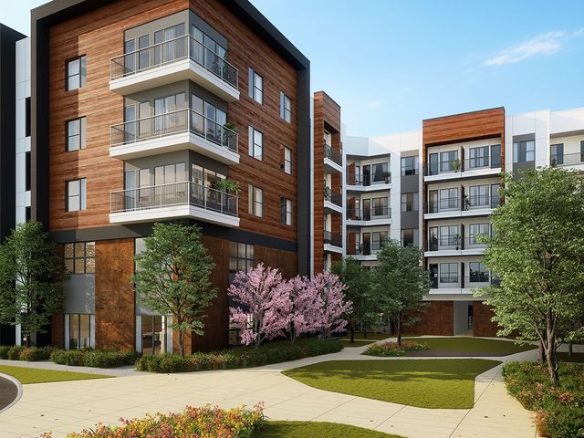 Exterior rendering of property with blue skies in the background.