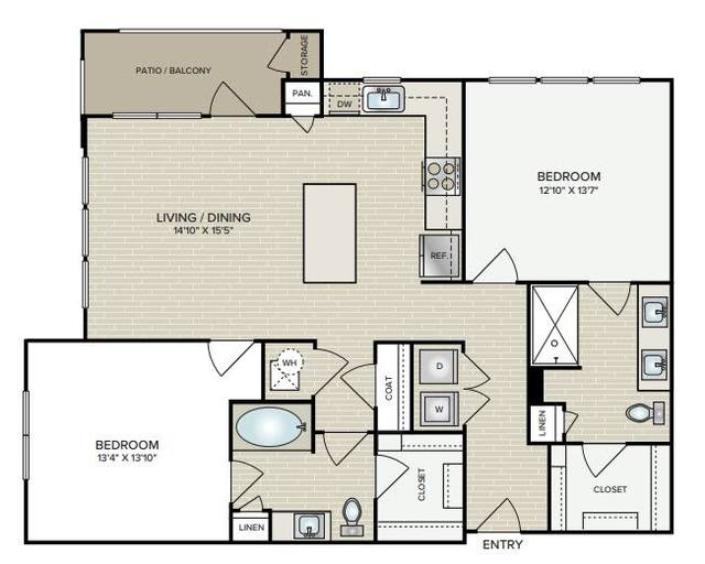 A 2D drawing of the B2.2 floor plan