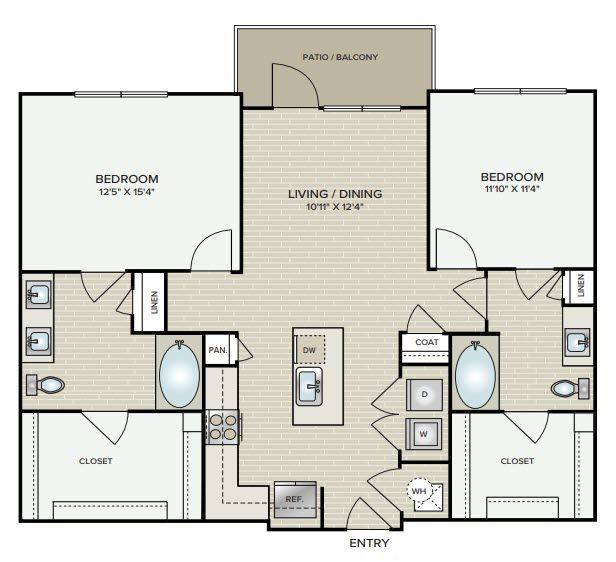 A 2D drawing of the B1.3 floor plan