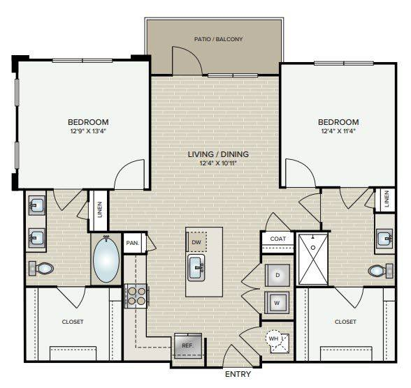 A 2D drawing of the B1.2 floor plan