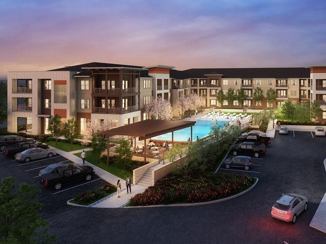 Rendering of building exterior and swimming pool at dusk.