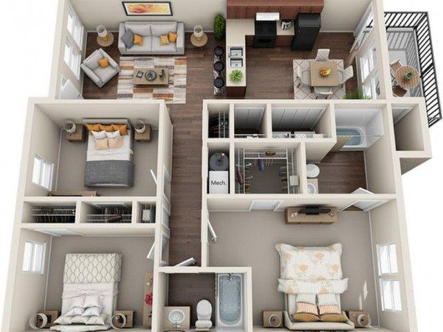 A 3D rendering of the Cattail floor plan
