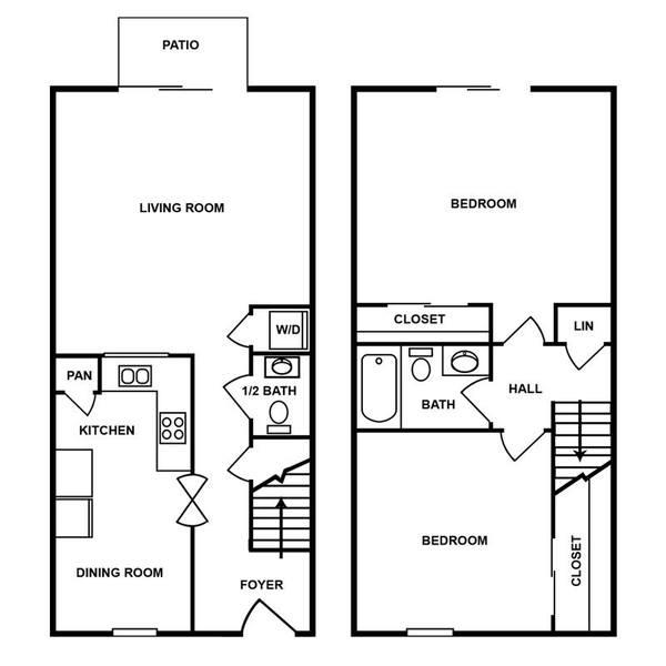 A 2D drawing of the 2H floor plan