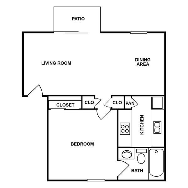 A 2D drawing of the 1D floor plan