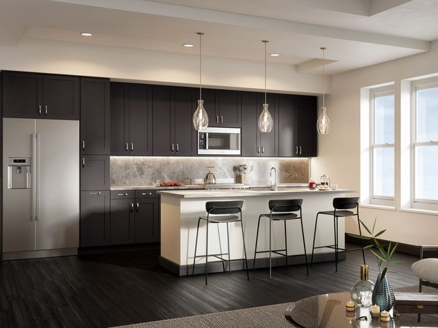 Kitchen Rendering with stainless steel appliances and large island with seating
