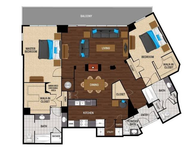 A 2D drawing of the PB1 floor plan