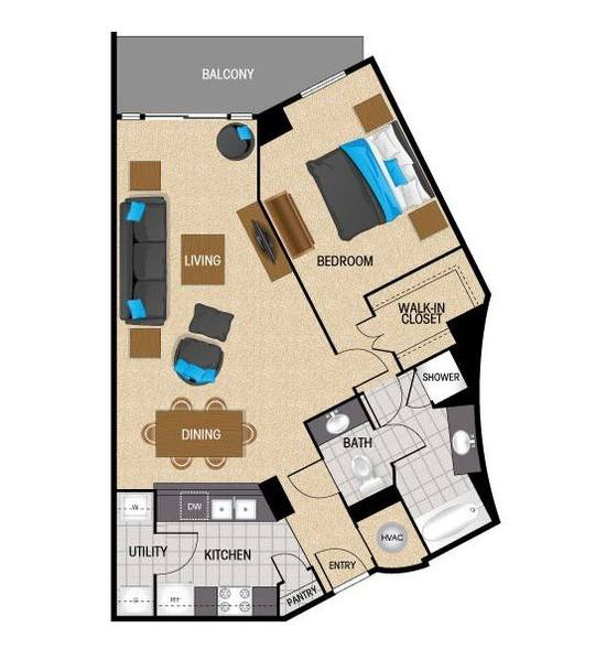 A 2D drawing of the TA1 floor plan