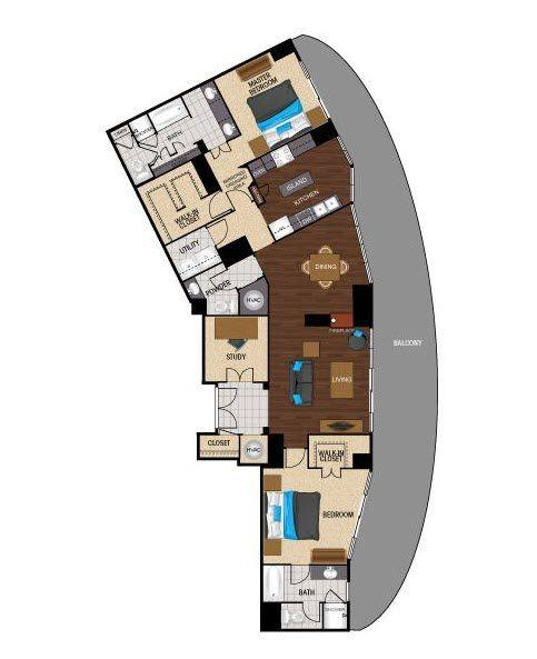 A 2D drawing of the PB3 floor plan