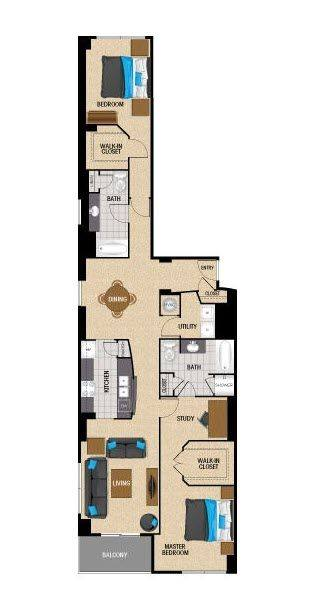A 2D drawing of the TB3R floor plan