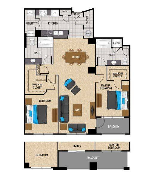 A 2D drawing of the TB2 floor plan