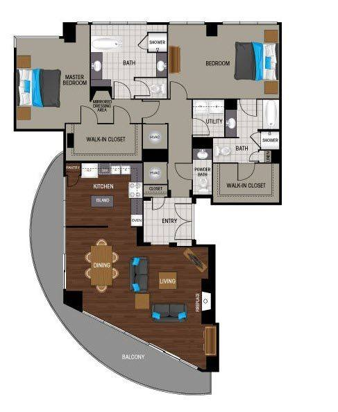 A 2D drawing of the PB2 floor plan