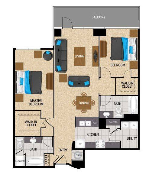 A 2D drawing of the TB1 floor plan