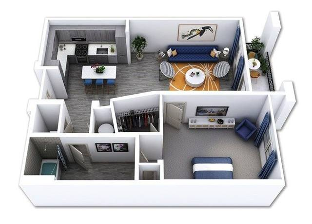A 3D rendering of the A4 floor plan