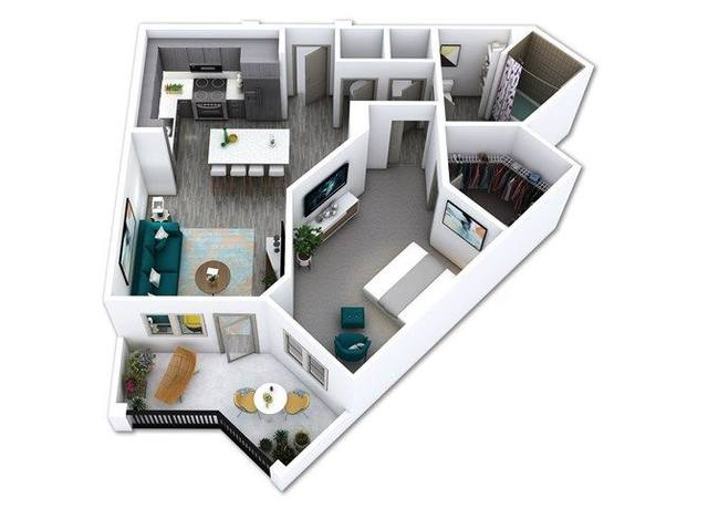 A 3D rendering of the A5 floor plan