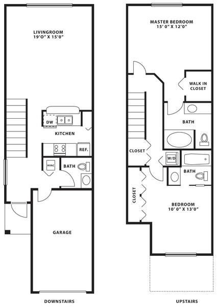 A 2D drawing of the B3 TH floor plan