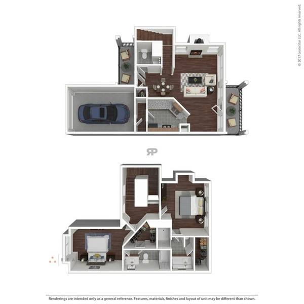 A 3D rendering of the B2TH floor plan